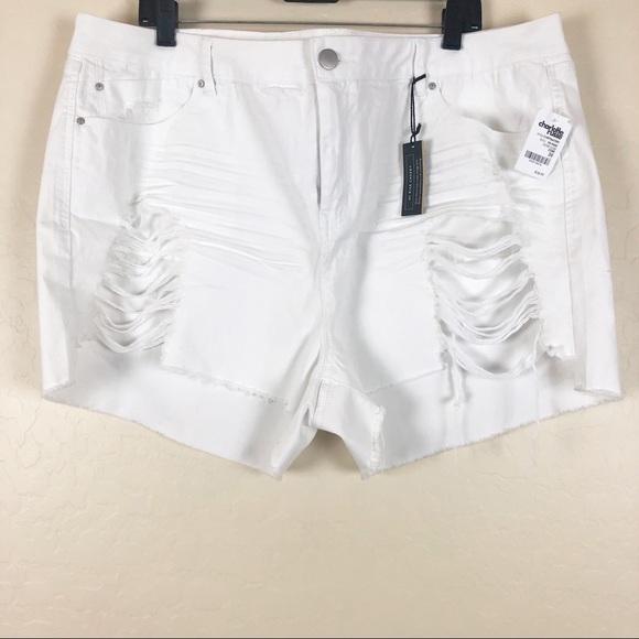 refuge Pants - Charlotte Russe   White Destructed Denim Shorts